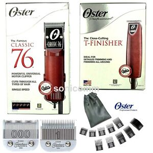 Oster Classic 76 Clipper + T-Finisher Trimmer +10 Attachments Combs Barber Combo