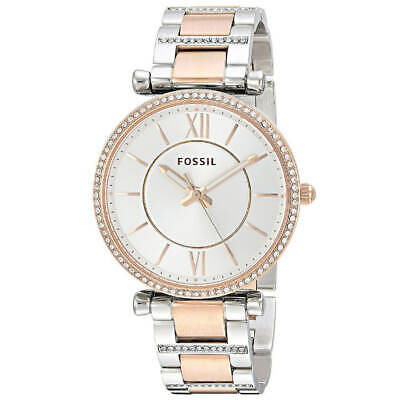 Fossil ES4342 Women's Carlie Silver Dial Two Tone Bracelet Watch