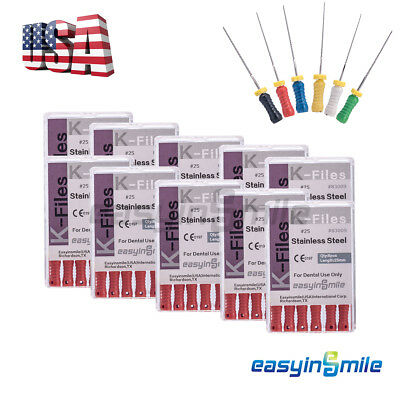 10xdental Endo Root Canal File K-files Stainless Steel Hand Use 25mm Easyisnmile