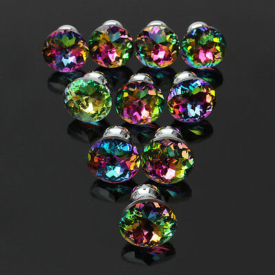10pcs Colour Crystal Glass Cupboard Wardrobe Knobs Drawer Door Handle Pull New