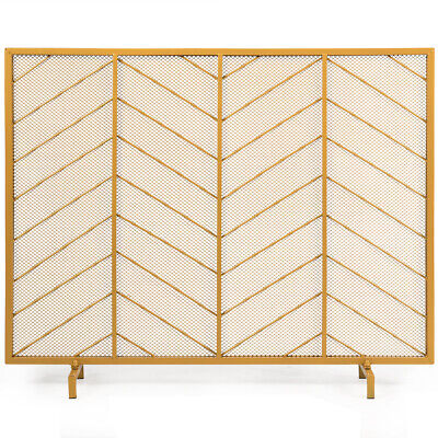 """39""""x31"""" Single Panel Fireplace Screen Spark Guard Fence Chev"""