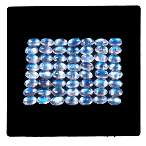 56 Pcs Natural Blue Moonstone 5mm*3mm Oval Fiery Untreated Loose Gemstones Lot