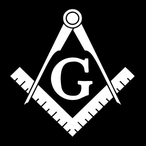 Basic Square & Compass Masonic Vinyl Decal - White 6 Inch