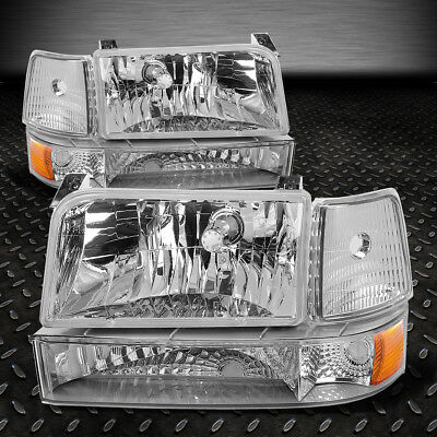 FOR 1992-1996 FORD F150/F250/F350 CHROME BUMPER HEADLIGHTS/+AMBER CORNER LAMP