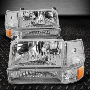 FOR 1992-1996 FORD F150/F250/F350 CHROME BUMPER HEADLIGHTS/+AMBER CORNER LAMP