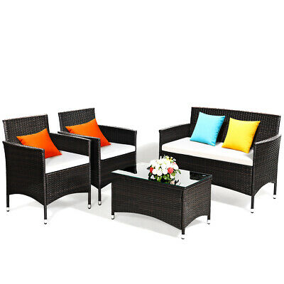 Garden Furniture - 4 PCS Patio Garden Rattan Furniture Set Coffee Table Cushioned Sofa Brown