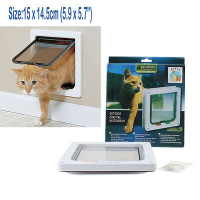 (4 Way Medium Small Cat Puppy Dog Magnetic Lockable Safe Flap Door Gate White)