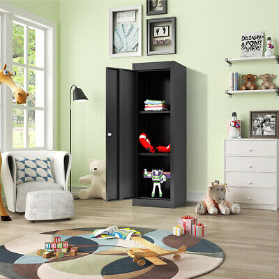 Black Metal Kids Storage School Home Cabinet With Locker 2adjustable Shelves