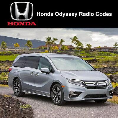 Honda Odyssey Radio Code Stereo PIN Unlock Codes Fast Unlock Service uk Honda Odyssey Stereo