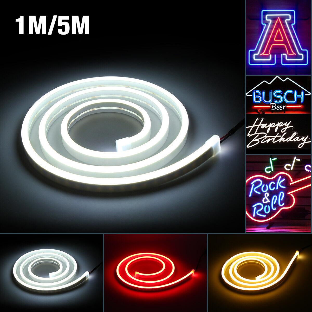1M5M 12V Flexible LED Strip Waterproof Neon Lights Silicone Tube Home Decor USA