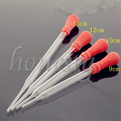 15x Glass Pipette Pipet Medicine Laboratory Dropper Red Rubber Head Lab Supply