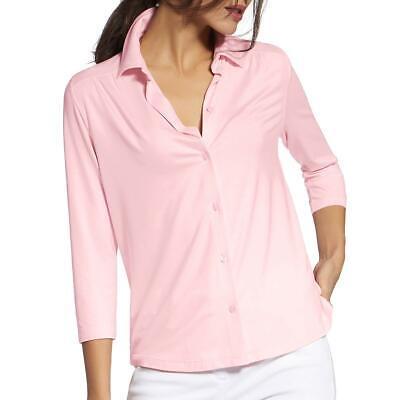 Basler Womens Solid Three-Quarter Sleeves Blouse Button-Down Top Shirt BHFO 5157 Three Quarter Sleeve Blouse