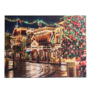 Street on Christmas Eve LED Light Up Lighted Canvas Picture Print Wall Decor