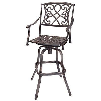 Cast Aluminum Swivel Bar Stool Patio Furniture Antique Copper Design Outdoor New