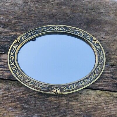 Vintage Brass Framed Small Industrial Oval Mirrors #1/2