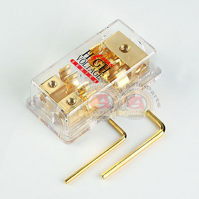 GOLD PLATED MONGOOSE 2-GANG AGU FUSE BLOCK THREE 4 GAUGE INPUT TWO 8 GA OUTPUT