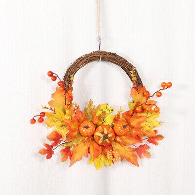 Autumn Maple Leaf Wreath Artificial Garland Christmas Halloween Door Decor 20 20