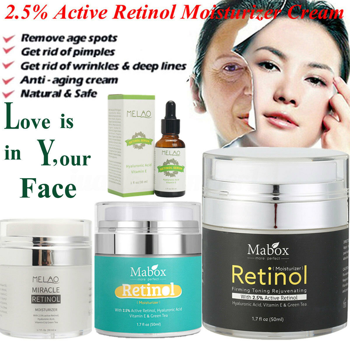 Retinol 25 Face Cream Serum Skin Anti Aging Wrinkles Hyaluronic Acid Vitamin E