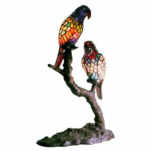 Warehouse of Tiffany 1600x2+BB449 2 Light Style Exotic Birds Accent Table Lamp