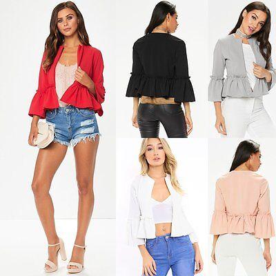 Fashion Women Lady Casual Jacket Long Sleeve Blazer Suit Outwear Slim Solid Coat
