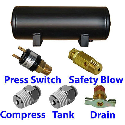 3 Gallon Air Tank 5 port train horn  air suspension WITH all fittings