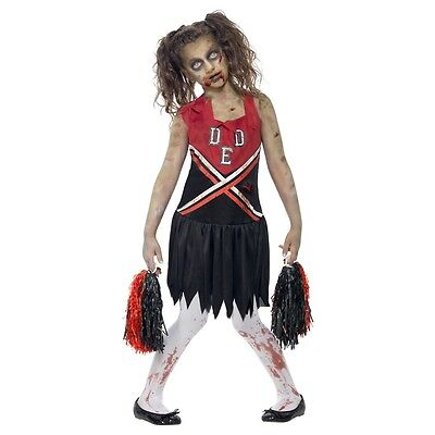 Zombie Cheerleader Costume Kids Halloween Fancy Dress - Halloween Cheerleader Costume Kids
