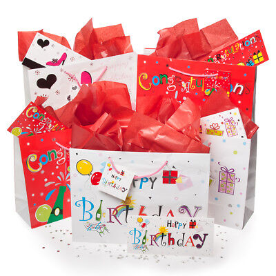 20pc Gift Bag Sets Tissue Cards Sequins Congratulations Happ