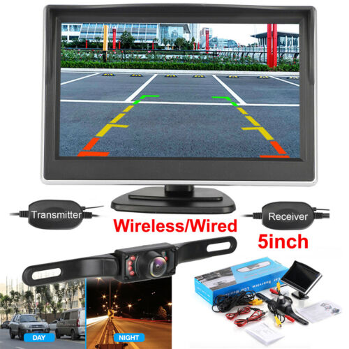 "5"" Monitor Wireless Car Night Vision Backup Rear View Camera Kit Parking System"