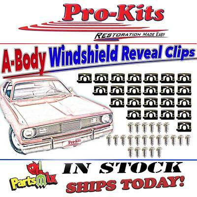 68 69 70 71-75 Dart Valiant Duster Windshield Front Glass Molding Clips Reveal
