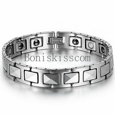 Men's Silver Tungsten Carbide Link High Power Therapy Magnetic Bracelet 8.7Inch