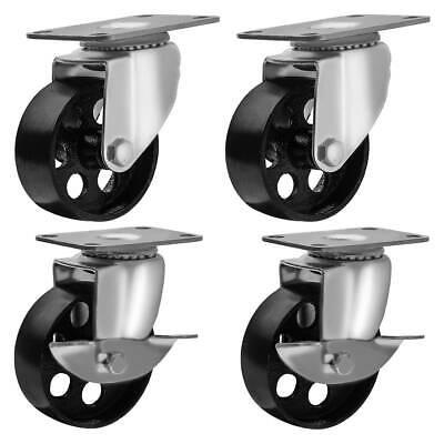 Lot Of 4 Swivel Plate 3 Casters Combo All Steel - 2 No Brake 2 W Brake