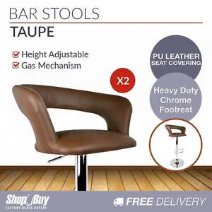 Free Delivery: 2 x PU Leather Backrest Kitchen Bar Stool Cafe Pu Box Hill Whitehorse Area Preview