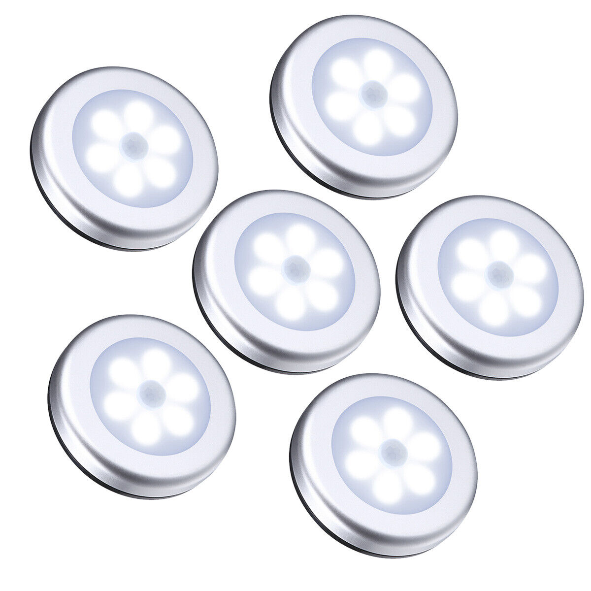 6pcs Led Pir Motion Sensor Wireless Night Lights Battery
