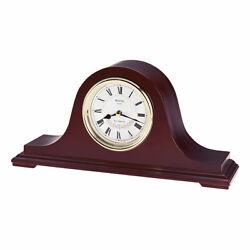 Bulova Mantel Clock Annette II Chiming Silver Tone Dial Dark Walnut Wood B1929