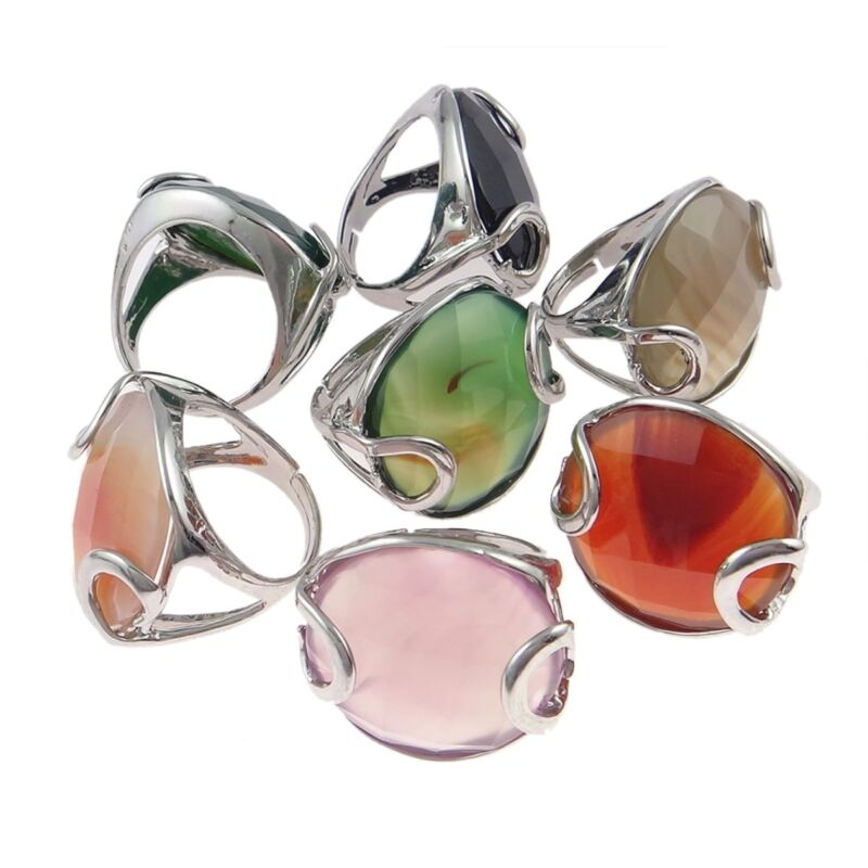 Wholesale Bulk Lot 6 Adjustable Silver Tone Agate Stone with Overlay Large Rings
