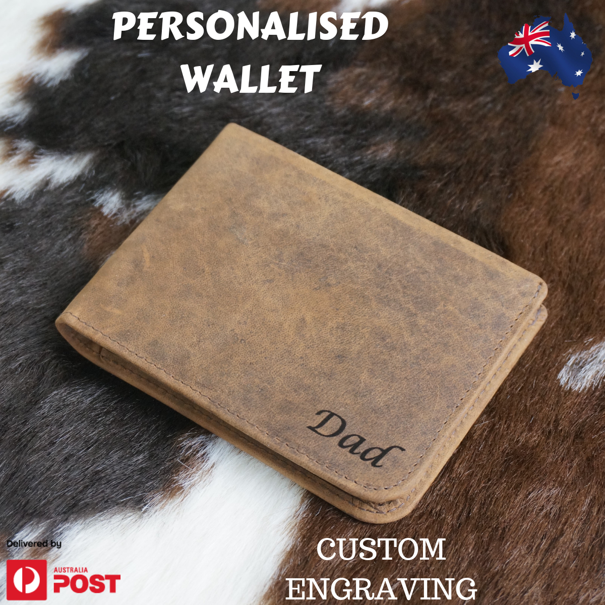 Personalised Genuine Leather Men RFID Wallet Custom Engraving Gift Wallet AU