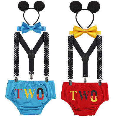 Toddler Baby Boy 2nd Birthday Cake Smash Outfit Mickey Mouse Photo Shoot Costume (Mickey Mouse Birthday Outfit)