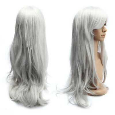 Cosplay Perücke Gelockt Kostüm Mittel Lang Haar Wigs Damenperücke 70cm - Graue Haare Kostüm Perücke