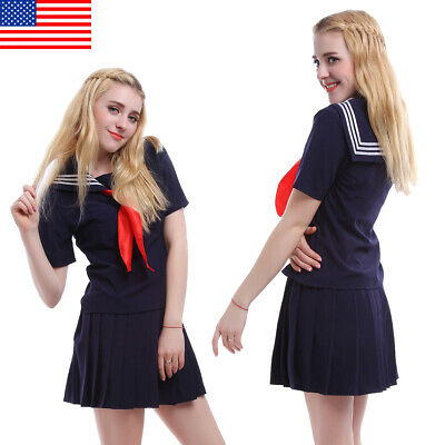 JK Girl's Uniform Cosplay School Navy Sailor Short Sleeve Dress Skirt  Costume