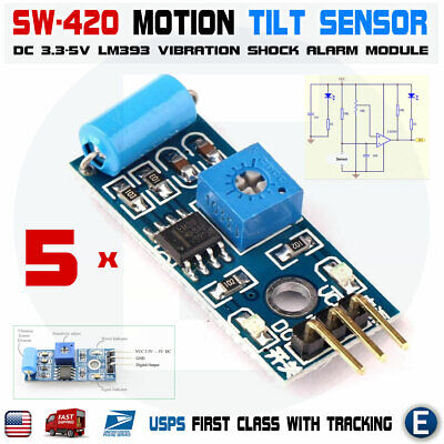 5pcs Sw 420 Motion Tilt Sensor Vibration Switch Alarm Module For Arduino 3.3-5v