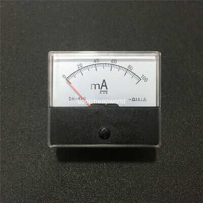 1pcs Analog Amp Panel Meter Current Ammeter Dc 0-100ma 100ma Dh670 Ampere Meter
