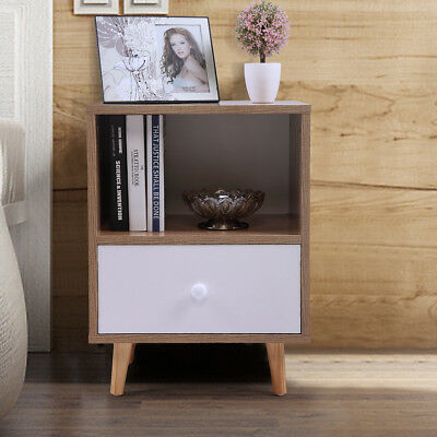 Wood Sofa End Side Bedside Table Nightstand W/1Drawer Storage Shelf Solid legs  2 Drawer Square Nightstand