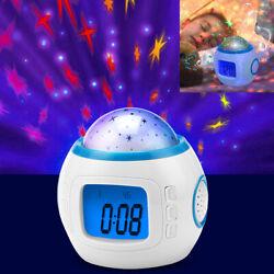 LED Kids Music Star Sky Projection Lamp Digital Alarm Clock Calendar Thermometer