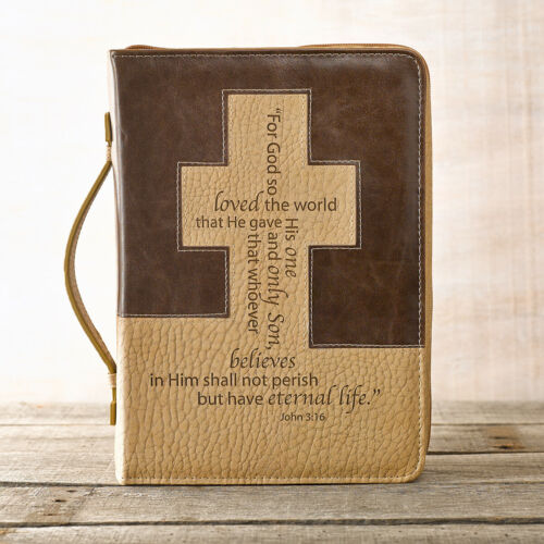 John 3:16 Cross Bible Cover, Brown and Tan, Size ~ Large