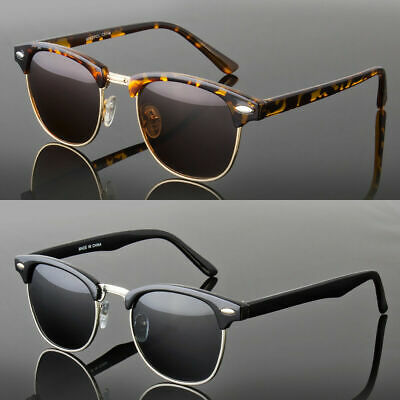 Polarized Women Men Vintage Designer Clubmaster Sunglasses Metal Half (Clubmaster Women)