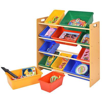 Toy Storage Unit Kids Children Play Organizer Boxes Shelf 4 Tiers Furniture