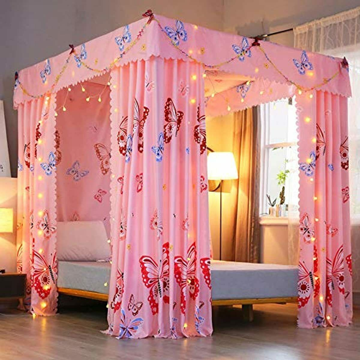 Mengersi Princess Butterfly Canopy Bed Curtains For Girls Pink Bed Drapes Curtai Ebay