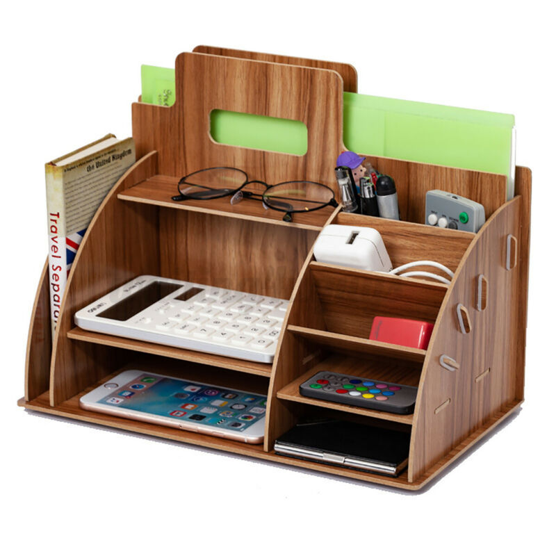 Desk Organizer Wooden Pen Pencil Holder Container Office Storage Boxes 33cm