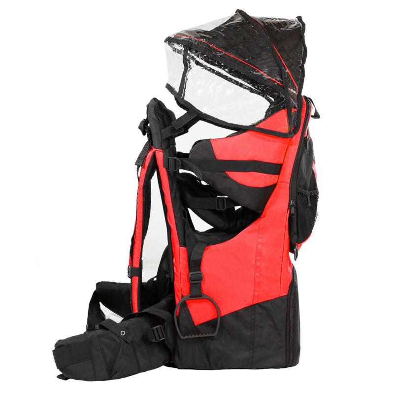 Deluxe Adjustable Baby Carrier Outdoor Light Hiking Child Backpack Camping, Red