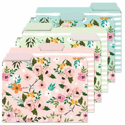 Flower Floral File Folders Colorful Set Of 24 3 Designs Documents Storage New.